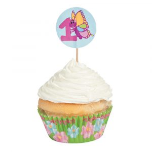 1st Birthday Butterfly Cupcake Liners with Picks