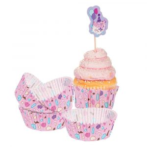 1st Birthday Cupcake Liners with Picks Pink