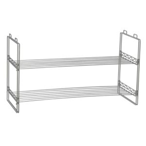 2 Tier Shoe Rack, Stackable Wire Frame, Holds 6 to 8 Pairs of Shoes, Great for Smaller or Larger Footwear, Additional Shelving, Chromelike Finish