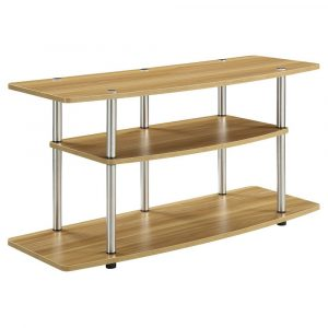 """3 Tier Wide TV Stand for TVs up to 42"""" Light Oak - Breighton Home"""