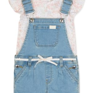 7 For All Mankind Baby Girls 2-Pc. Printed Flutter-Sleeve Top & Shortalls Set