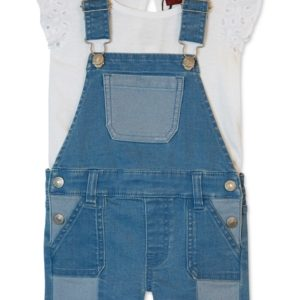 7 for All Mankind Baby Girls 2-Pc. Ruffle Top & Shortalls Set