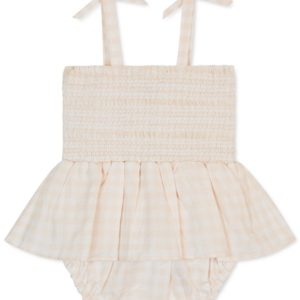 7 for All Mankind Baby Girls Gingham Cotton Romper
