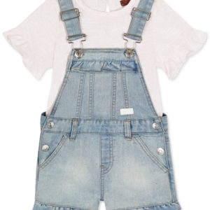 7 for All Mankind Baby Girls Two-Pc. Top & Denim Shortalls Set