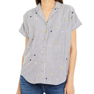 A Pea in the Pod Cotton Embroidered Maternity Shirt
