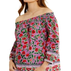 A Pea in the Pod Cotton Off-The-Shoulder Maternity Top
