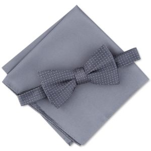 Alfani Men's Basketweave Pre-Tied Bow Tie & Solid Pocket Square Set, Created for Macy's
