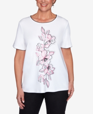 Alfred Dunner Women's Missy Clean Getaway Center Embroidery Floral Top