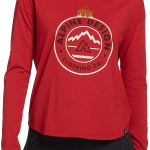 Alpine Design Women's First Mile Made Long Sleeve Ornament T-Shirt, XS, Pompeian Red/Ornament