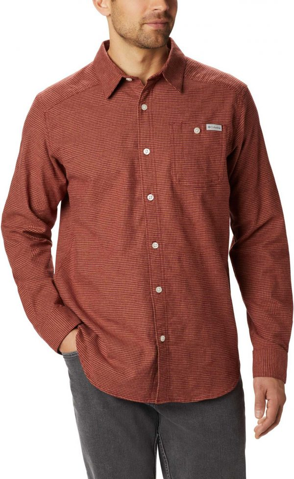 Columbia Men's Cornell Woods Button Up Long Sleeve Shirt, Small, Red
