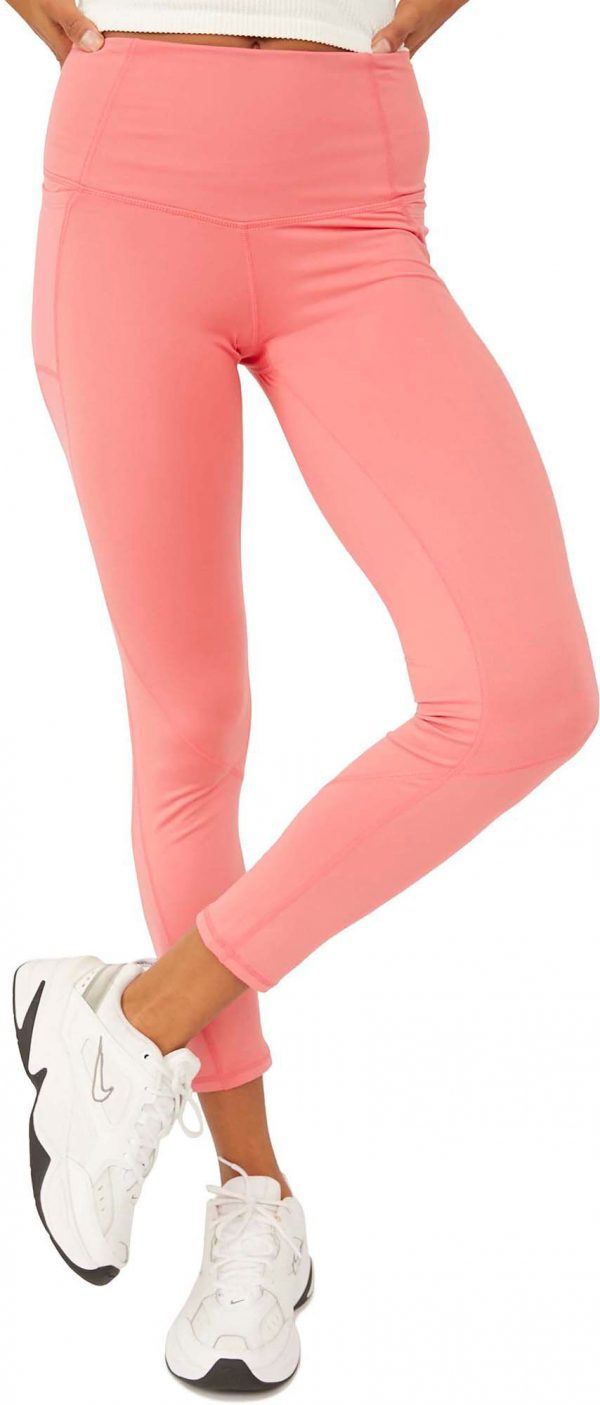 FP Movement by Free People Women's Solid Plie All Day High-Rise Ankle Leggings, Medium, Light Red