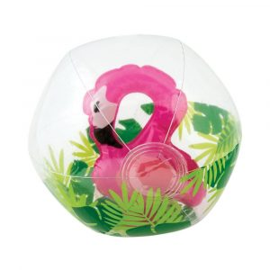 """Inflatable 11"""" Medium Clear Beach Balls with Flamingo Inside Multicolor"""