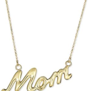 """""""Mom"""" 18"""" Pendant Necklace in 10k Gold"""""""