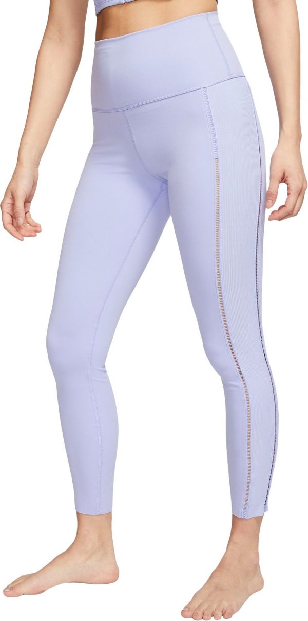 Nike Women's Luxe Ribbed High Rise 7/8 Tights, XS, Light Thistle