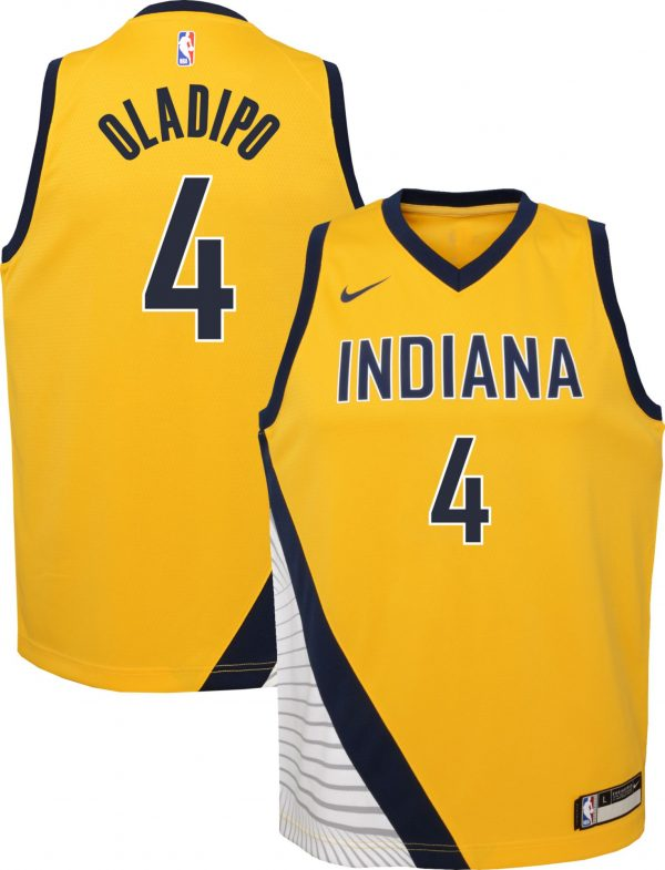 Nike Youth Indiana Pacers Victor Oladipo #4 Gold Dri-FIT Statement Swingman Jersey, Kids, Large, Yellow