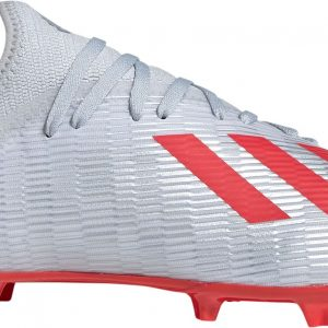 adidas Men's X 19.3 FG Soccer Cleats, Silver/Red