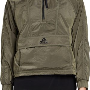 adidas Women's Wind Ready Anorak 1/2 Zip Cropped Pullover, Large, Green
