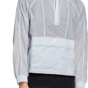 adidas Women's Wind Ready Anorak 1/2 Zip Cropped Pullover, Small, Blue